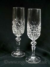 Crystal Glass  A Pair of Champagne Flutes Cross Cut Hexagonal Stems