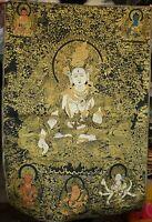 90CM Old Tibet Cloth Silk Buddhism 7 Eyes White Tara Thangka Tangka Mural