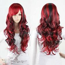 Wigs Red and Black for Women Long Curly Hair Wigs Lolita Style Wigs (Red+Black)