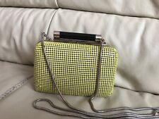 Diane Von Furstenberg DVF super cute lime yellow metal box bag shoulder clutch