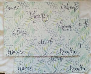 """HOUSE & HOME Relax  Wish Table  Foam Placemats SENTIMENT  18""""x13"""" Set of 4"""