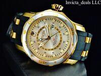 Invicta Men Pro Diver Scuba Swiss Quartz GMT Silver Dial 18K Gold Plated Watch