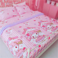 My Melody Birthday Present Cake Pink Melody Cotton Bed Sheet Quilt Cover 3/4 PCS