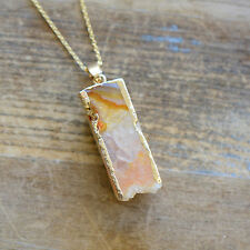 Square Column Orange Druzy Necklace Agate Pendant w/ 24K Gold Edge Plating Chain