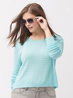 NWT LANE BRYANT $50 AQUA SILVER metallic stripe crop sweater PLUS 2X 18-20 top