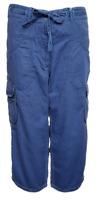 Women`s Ex-Store Cropped 3/4 Capri Cargo Trousers Blue Pants - RRP £40