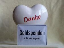 SPENDEN HERZ Spardose DANKE Weiss XL  Sparschwein Trinkgeld Spende + Blechschild