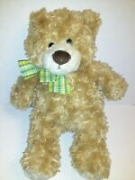 "Family Christian Stores Brown Bear With A Green Bow 12"" Plush Stuffed Animal"