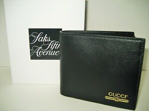 $390 NEW Gucci Men Smooth Black Leather Gold Logo Imprint Bifold Coins ID Wallet