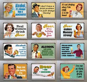 New, Quality Funny Retro Fridge Magnets - Beer, Alcohol Theme, cheeky - u pick