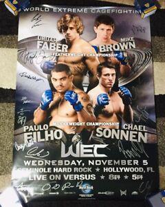 """""""WEC 36"""" FABER VS BROWN! SIGNED AUTO POSTER! FULL SIZE! CERRONE SONNEN ALDO UFC!"""
