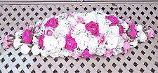 LONG TOP TABLE WEDDING FLOWER DECORATION LIGHT, DARK PINK & WHITE DIAMANTE'S GYP