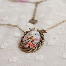 Cameo Bronze Oval Vintage Pendant Flower Bird Glass Cabochon Necklace