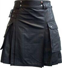 Mens Real Leather Pleated Kilt Clubwear Kilt With Cargo Pockets