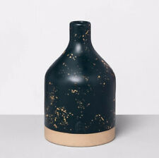 Hearth & Hand With Magnolia Speckled Stoneware Jug Vase Blue Teal wit Gold