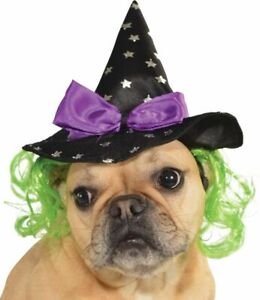 Pets Witch Hat - Various Colors - Small/Medium / Black w/ Attached Green Hair