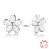 Darling Daisies Stud Earrings - S925 Sterling Silver White Enamel Daisy Studs