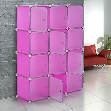 HOMCOM Plastic Cube Closet Organizer 12 Storage Wardrobe Rack DIY Furniture Pink