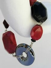 "Chico's Magnetic Bracelet Polished Glass Stone 8"" Black Red"