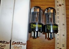2 Strong Matched Emerson by Sylvania Chrome Dome Black Plate 6SN7GTB Tubes