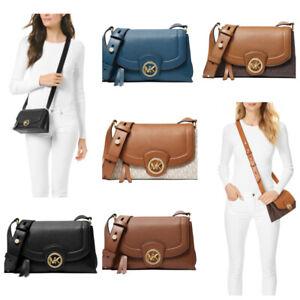 Michael Kors Bowery Leather MK Signature PVC Medium Crossbody Messenger Bag