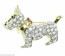 Crystal Brooch Puppy Pin New Schnauzer Dog Gold Plated