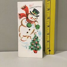 Vtg Christmas Card Snowman Top Hat Red Scarf Christmas Tree Ornaments