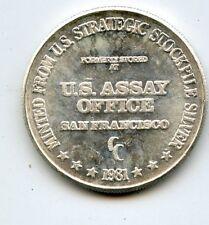 1981 U.S. Assay Office 1 Troy OZ .999 Fine Silver Round