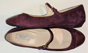 NWOB Cole Haan Grand OS Wine Purple suede Cap Toe Mary Jane size 9B
