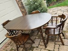 Vintage Kitchen Dining Room Table With4 Chairs 2 leaves dark wood