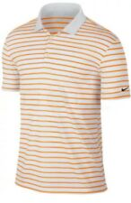 Nike Icon Golf Polo Shirt Men Medium M Standard Dri Fit Orange/White Striped NWT