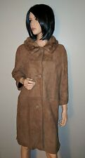 VINTAGE 50'S LADIES MINK DEERSKIN SUEDE DRESS COAT JACKET LNOG S SM M BROWN