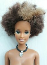 Barbie Doll NUDE Cool Highlighted Afro Hair/Blue Eyes/ OOAK NEW!