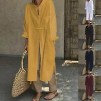 ZANZEA Femme Chemise Manche Longue Fendu Loose Poches Robe Haut Tops Longue Plus