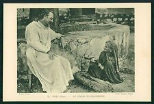 India AJMER old Lady gift to missionary Priest Mission original 1920s postcard