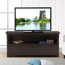 Yaheetech X-Shape TV Stand Unit Media Large Display Shelf w/2 Storage Doors Coff