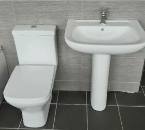 Square Style Veneto Basin Sink and Ped + Sandy Rimless Compact Toilet Wc & Seat