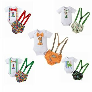 Baby Boys Summer Clothes Set Short Sleeve Romper Suspender Briefs Casual Outfits