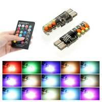 2PCS LED T10 W5W 5050 6SMD RGB Multi Color Light Car Wedge Bulbs Remote Control
