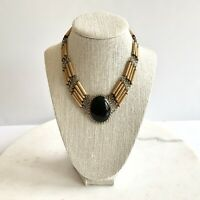Vintage Black Obsidian and Bamboo Bead Peruvian Necklace Estate Jewelry Boho