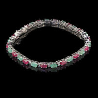 Natural Emerald Ruby Bracelet Top Quality Sparkling Gemstone 925 Sterling Silver