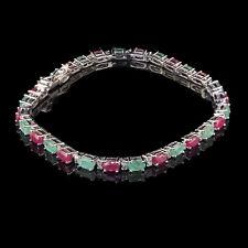 Natural Emerald Ruby Bracelet Top Quality Sparkling Gemstone 925 Sterling Silver