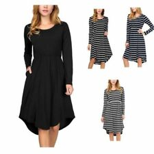 Stripes Regular Dresses for Women with Pockets