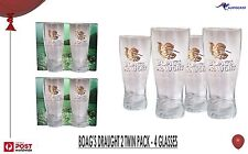James Boag's Draught Gold Logo Beer Middy 4 Glasses 2 x Twin pack BNIB Tasmania