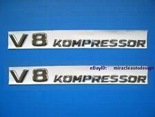 ONE PAIR CHROME * V8 KOMPRESSOR * SIDE EMBLEMS TURBO MERCEDES BENZ BMW AUDI VW