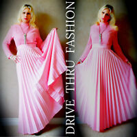 SUPERMODEL 70s Pink Crochet ZIGZAG Cut Out Hippie Disco Boho Wedding MAXI Dress