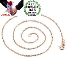 Fashion Woman Man Sterling 925 Silver Rose Gold Water Wave Chains Necklaces NK13