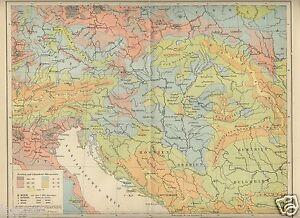 1895= REGNO AUSTRO-UNGARICO Densità Popol.=Antica Mappa