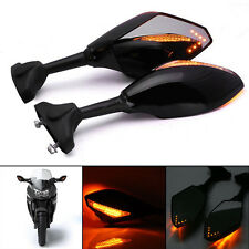 2pcs Motorcycle Rearview Mirrors With LED Turn Signal For Honda Kawasaki Suzuki