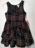 Harajuku Mini Girls A Line Dress Red Plaid Zip Ruffle Sleeveless Stretch XL New